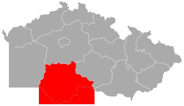 Mapa ČR s červeně zvýrazněným Jihočeským krajem